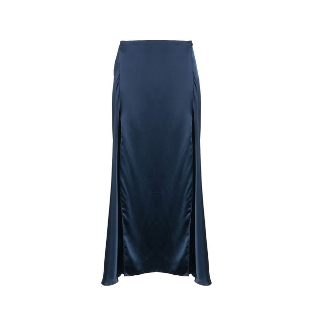 Catherine Quin Navy Silk Elrod Skirt