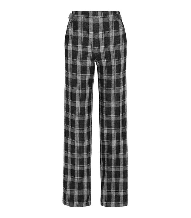 Proenza Schouler Plaid Wool-Blend Crepe Wide-Leg Pants