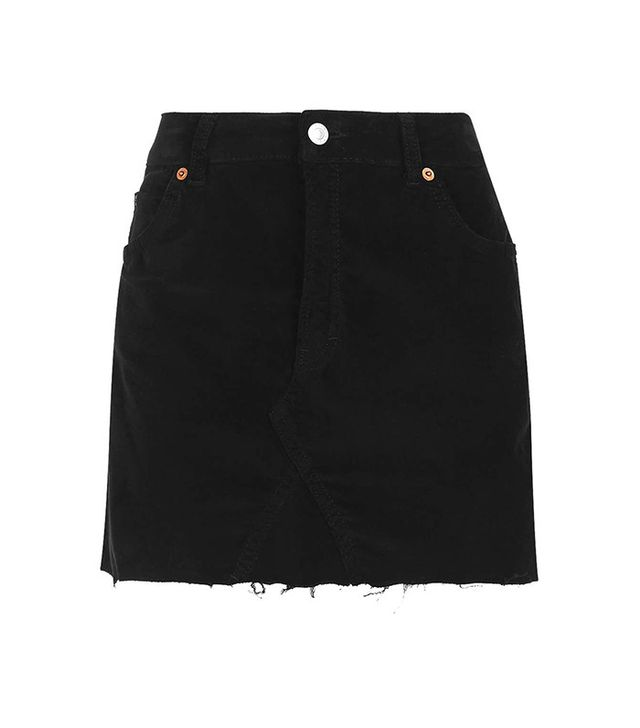 Topshop Moto Velvet Mini Skirt