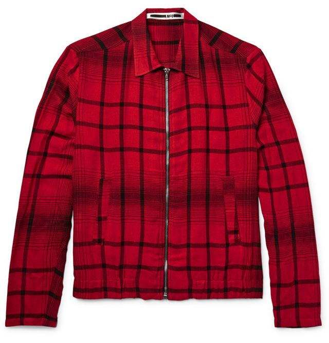 McQ by Alexander McQueen Checked Woven Blouson Jacket