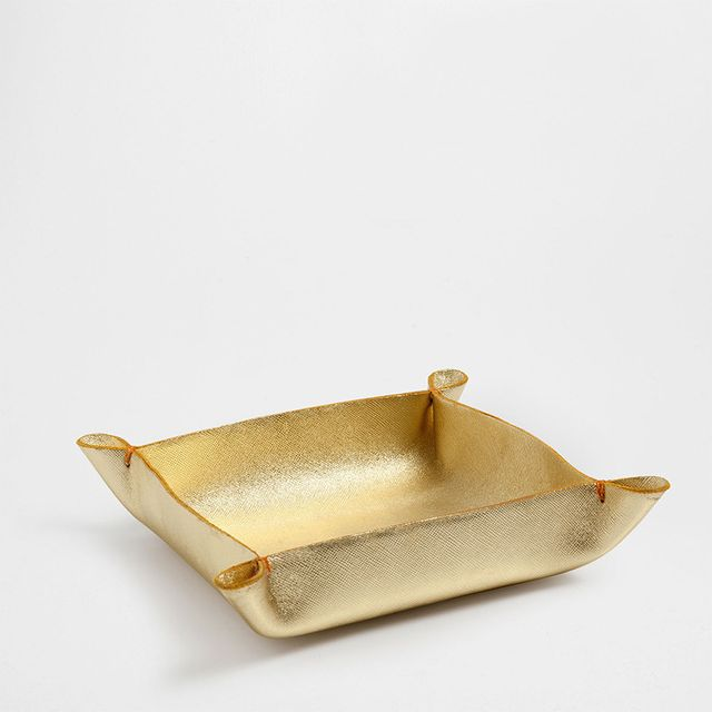 Zara Home Gold Leather Tidy Tray