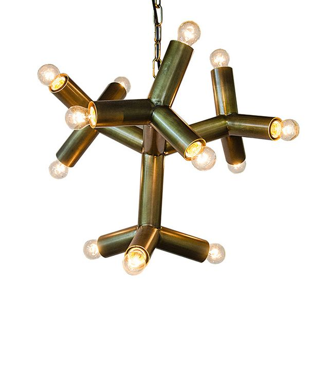 Noir Snowflake Antique Brass Chandelier