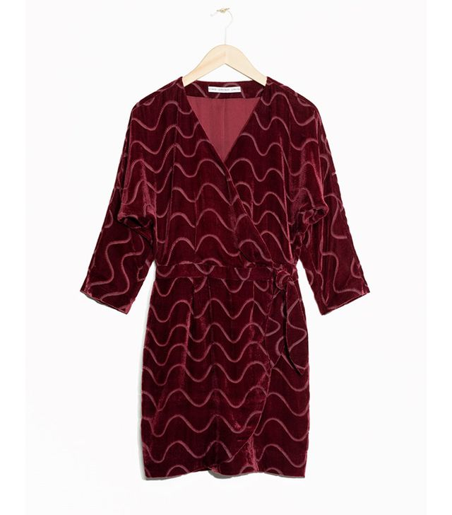 & Other Stories Graphic Devoré Wrap Dress