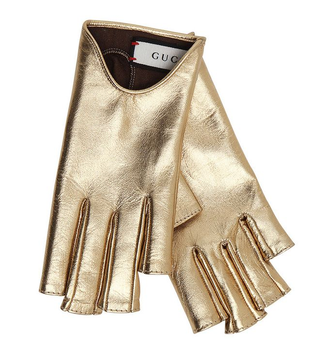 Gucci Embellished Metallic Leather Gloves
