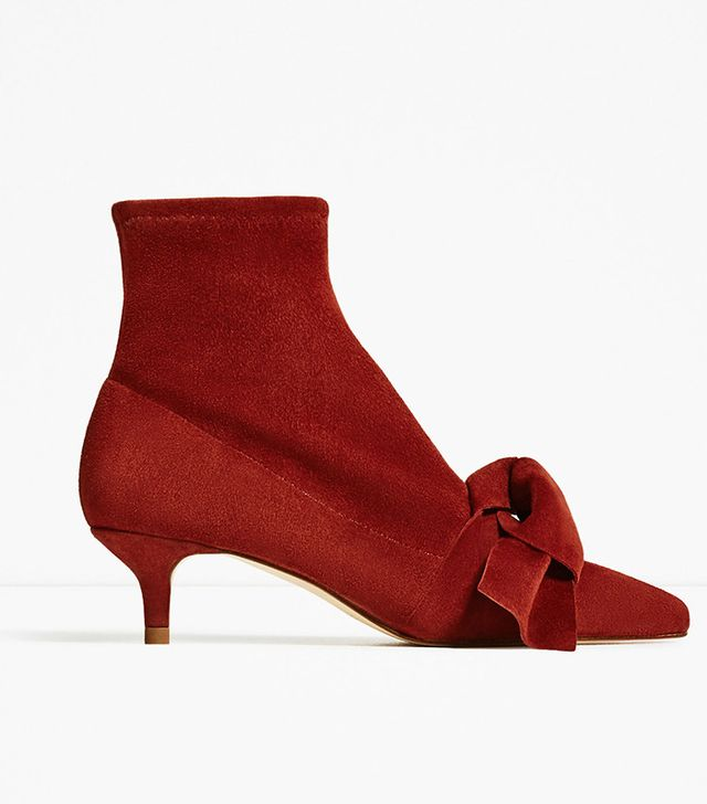 Zara Leather Heeled Ankle Boots With Bow