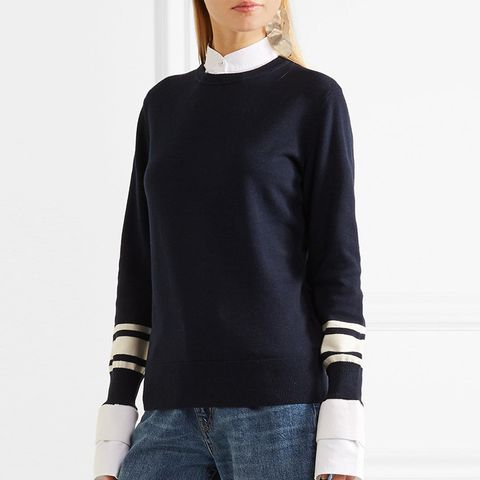 Poplin-Trimmed Wool and Cotton-Blend Sweater