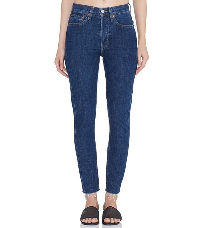 re/done High Rise Ankle Crop Rigid Jeans in Dark 2