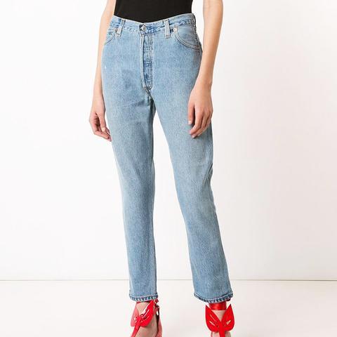 High-Rise Cropped 'Destruction' Jeans