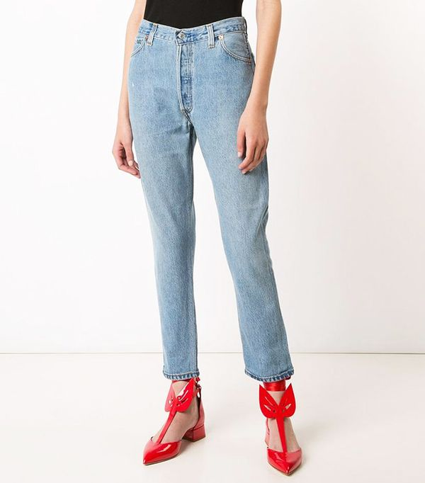 Re/Done High-Rise Cropped 'Destruction' Jeans