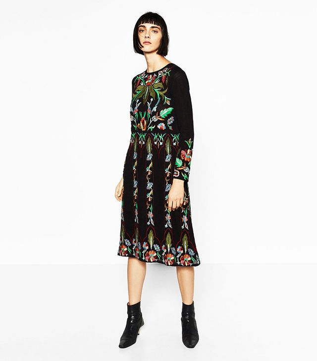 Zara Limited Edition Floral Embroidered Dress