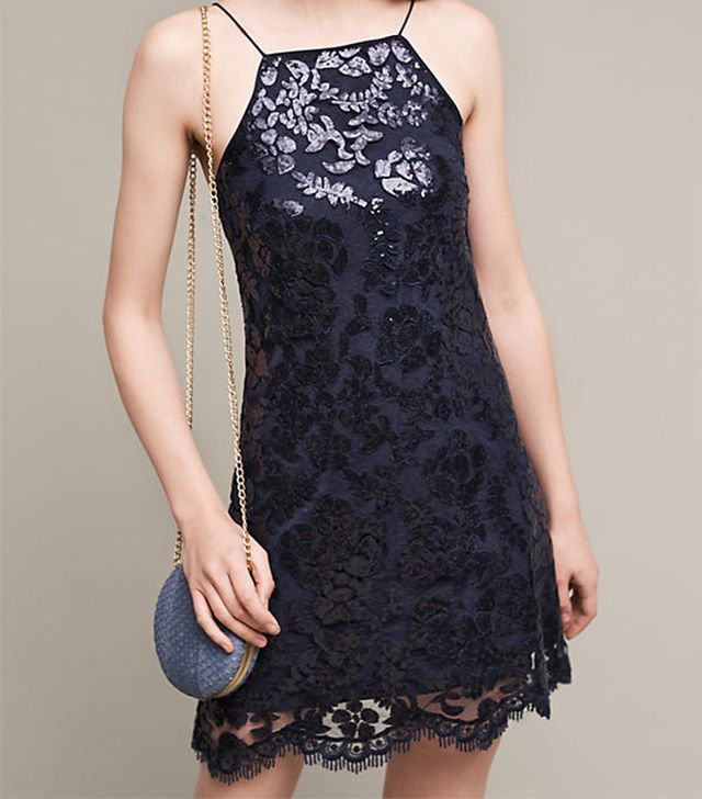 Anthropologie Poisat Sequined Halter Dress