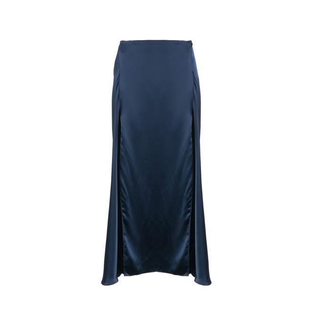 Catherine Quin Navy Silk Elrod Skirt