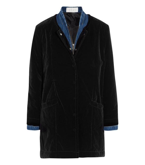 Keji Velvet and Denim Coat