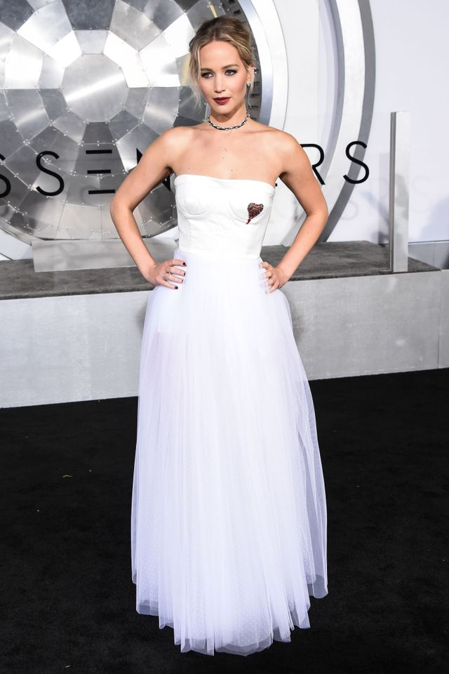 On Jennifer Lawrence: Dior gown.