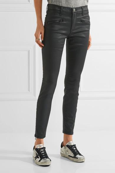 Currentt/Elliott The Soho Coated Low-Rise Skinny Jeans
