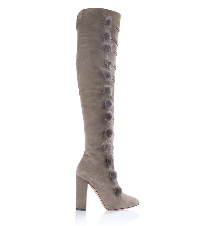 Aquazzura Ulyana Mink Fur Pompom & Suede Over-the-Knee Boots