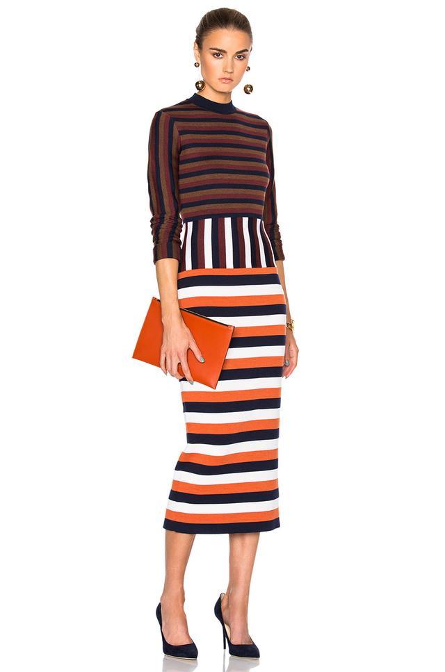 Victoria Beckham Deconstructed Striped Wool Dress