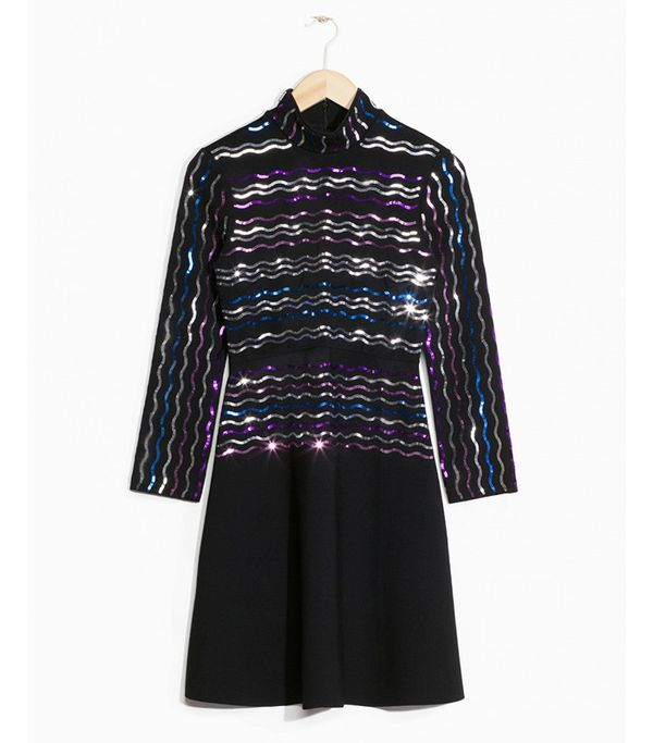 & Other Stories Sequin Embellished Turtleneck Dress