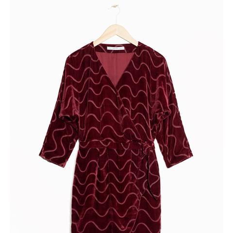 Graphic Devoré Wrap Dress