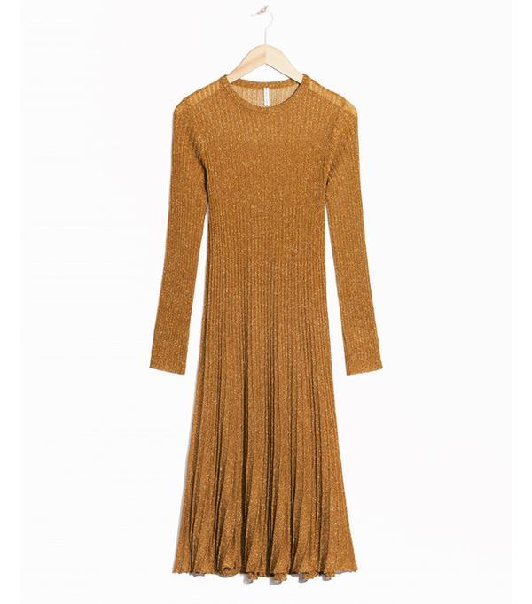 & Other Stories Textured Glitter Knit Dress