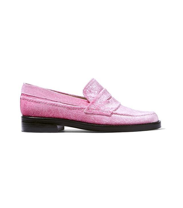 MR by Man Repeller The Alternative to Bare Feet Embossed Velvet Loafers