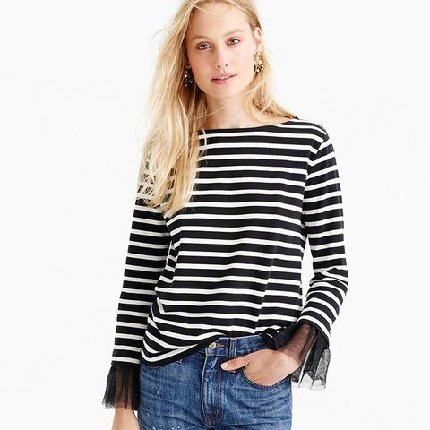 Tulle Cuffed Stripe T-Shirt