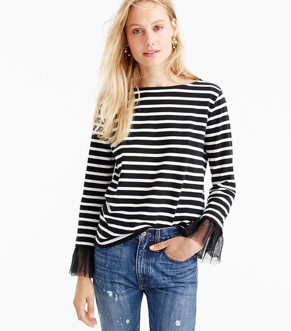 J.Crew Tulle Cuffed Stripe T-Shirt ($