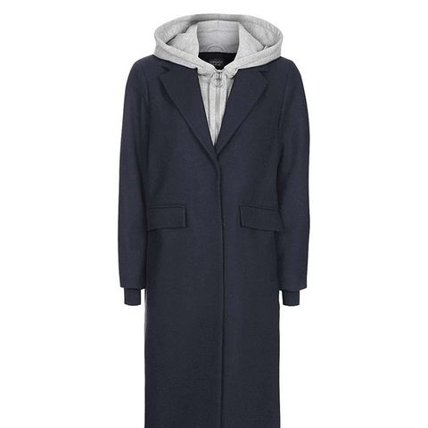 Hooded Layer Wool Blend Coat