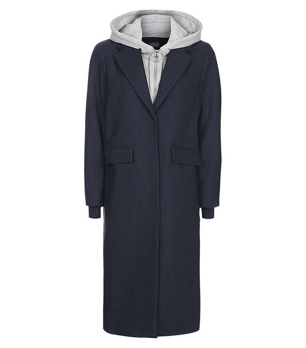Topshop Hooded Layer Wool Blend Coat ($