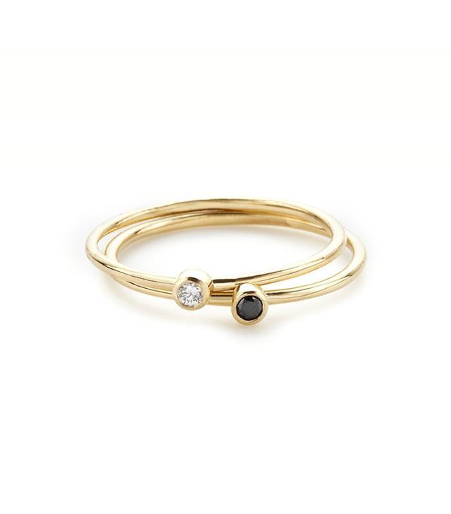Vrai & Oro Round Black Diamond Stacker