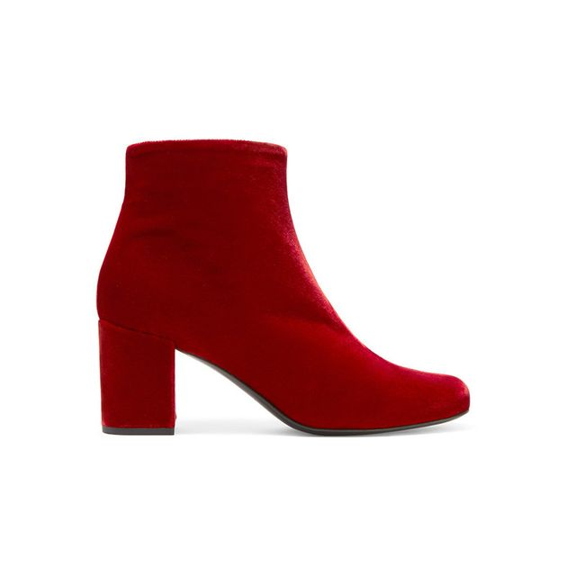 Saint Laurent Babies Red Velvet Boots