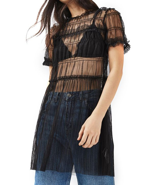 Topshop Tulle Ruched Tee Tunic