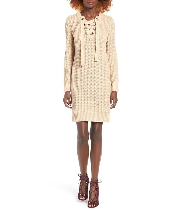 Moon River Lace-Up Sweater Dress