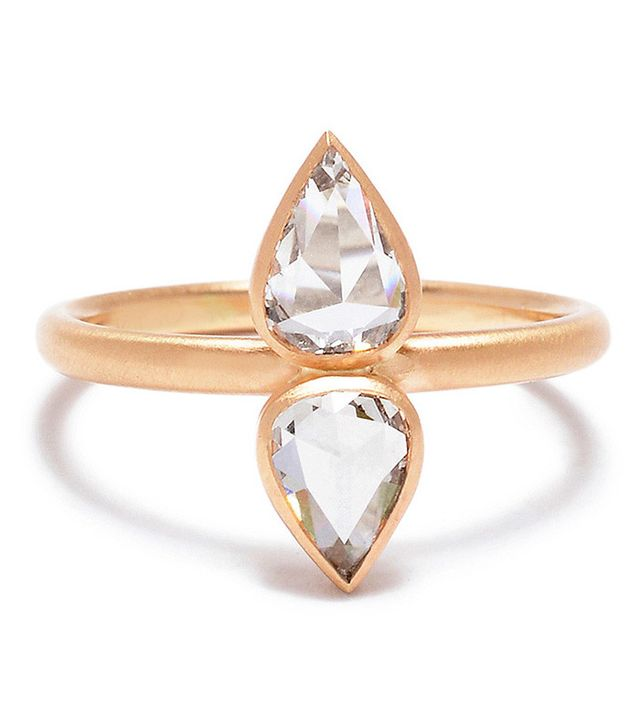 Rebecca Overmann Double-Pear Rose-Cut Diamond Ring