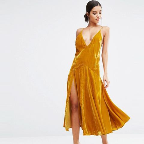 Velvet Cami Strappy Midi Dress