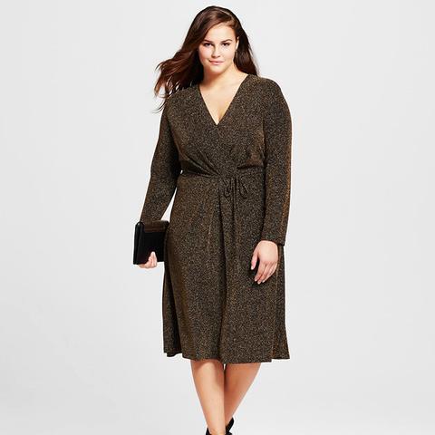 Plus Size Cross-Over Midi Dress