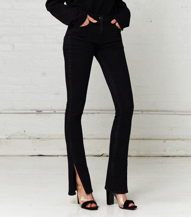 3x1 Split Seam Bell Jeans in Black Stone