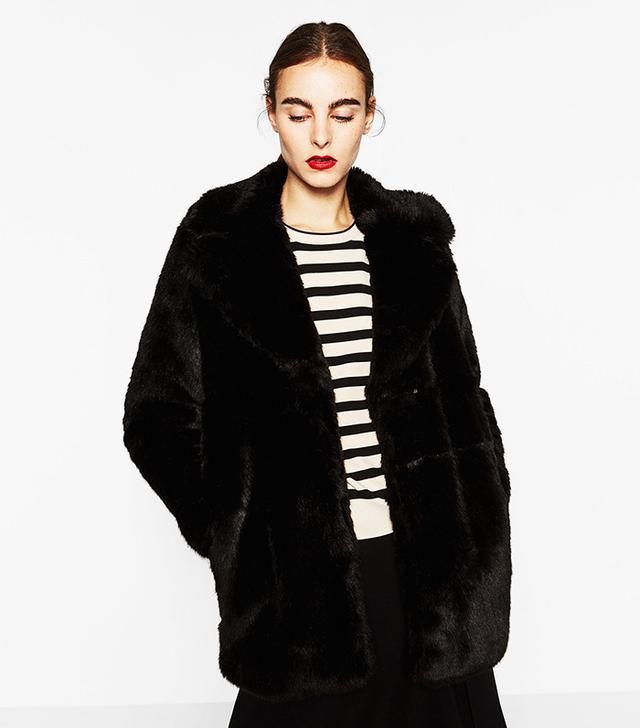 Zara Short Faux-Fur Coat