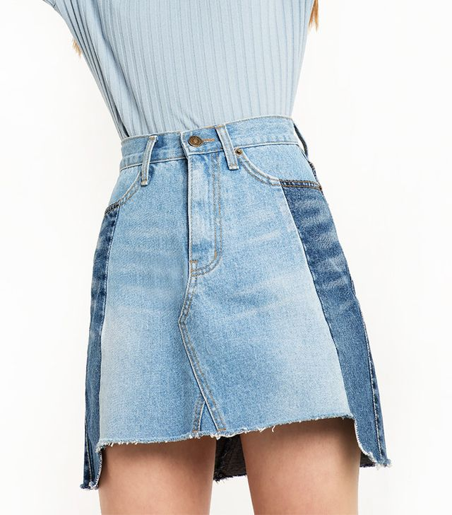 Pixie Market Two-Tone Denim Mini Skirt