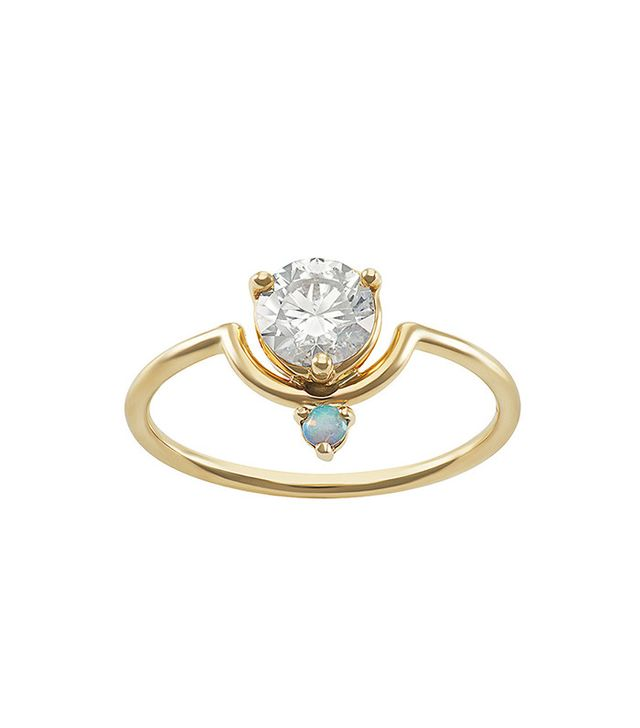 WWAKE Large Nestled Diamond and Opal Ring
