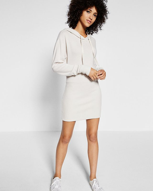 Express Ribbed Bottom Hooded Sweatshirt Dress