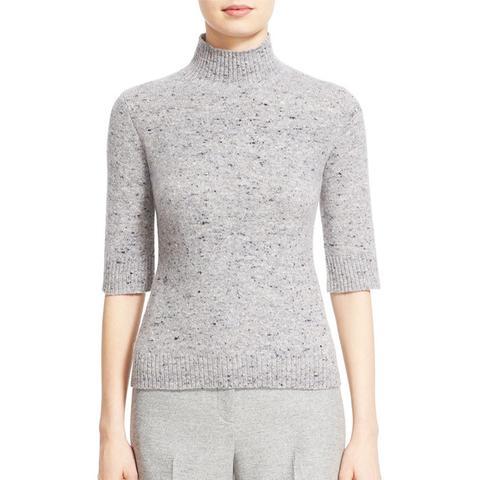 Cashmere & Merino Wool Mock Neck Pullover