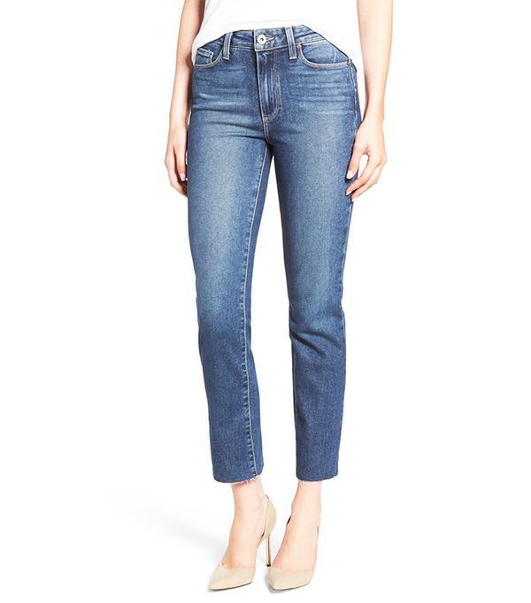 Paige Jacqueline Raw Hem Ankle Skinny Jeans