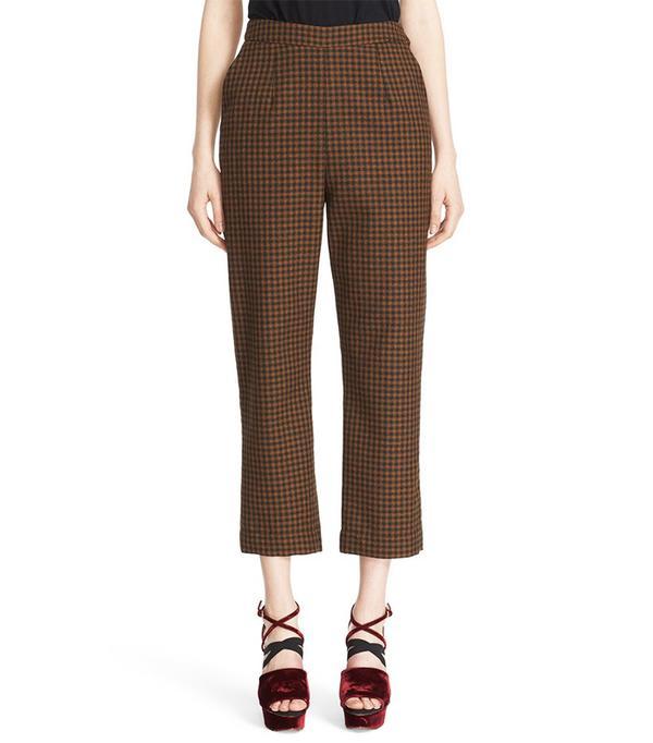 Isa Arfen Classic Pantalone Check Wool Crop Pants