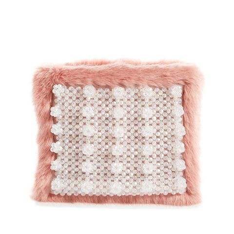 Beaded Faux-Fur Clutch