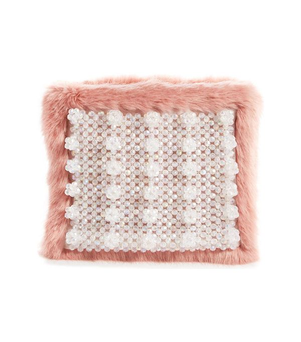 Shrimps Beaded Faux-Fur Clutch