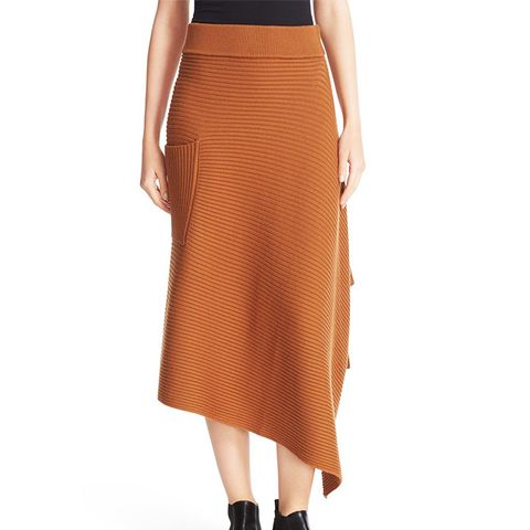 Ribbed Origami Wrap Skirt