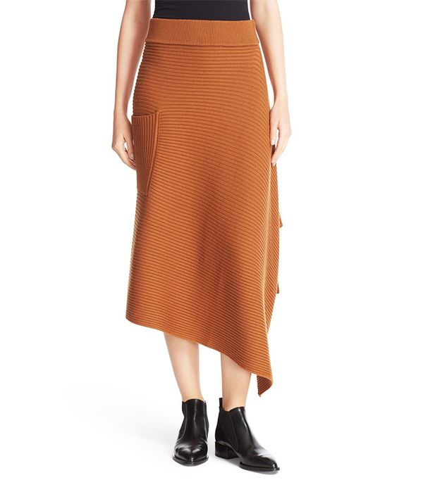Tibi Ribbed Origami Wrap Skirt