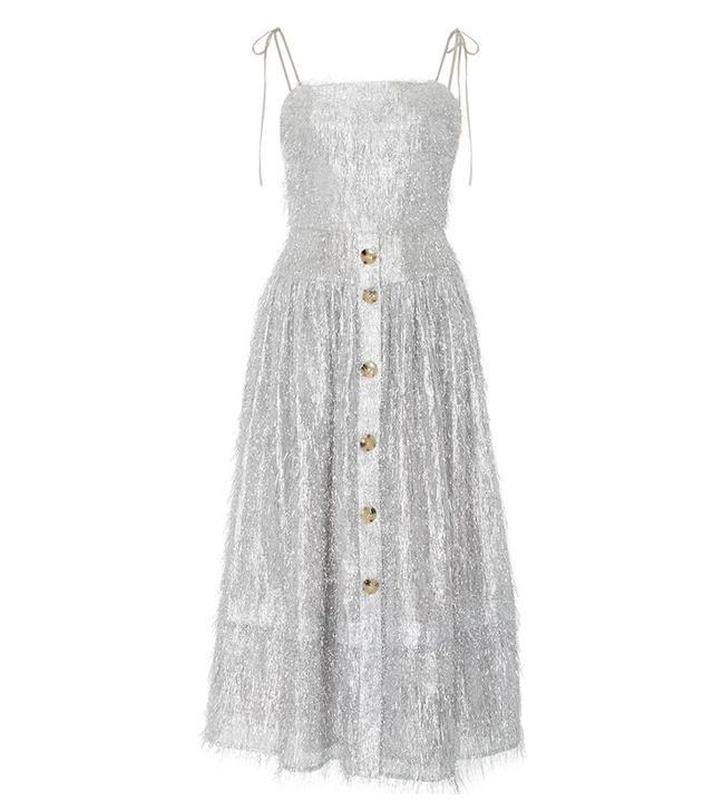 Rejina Pyo Issy Silver Fringing Strap Dress