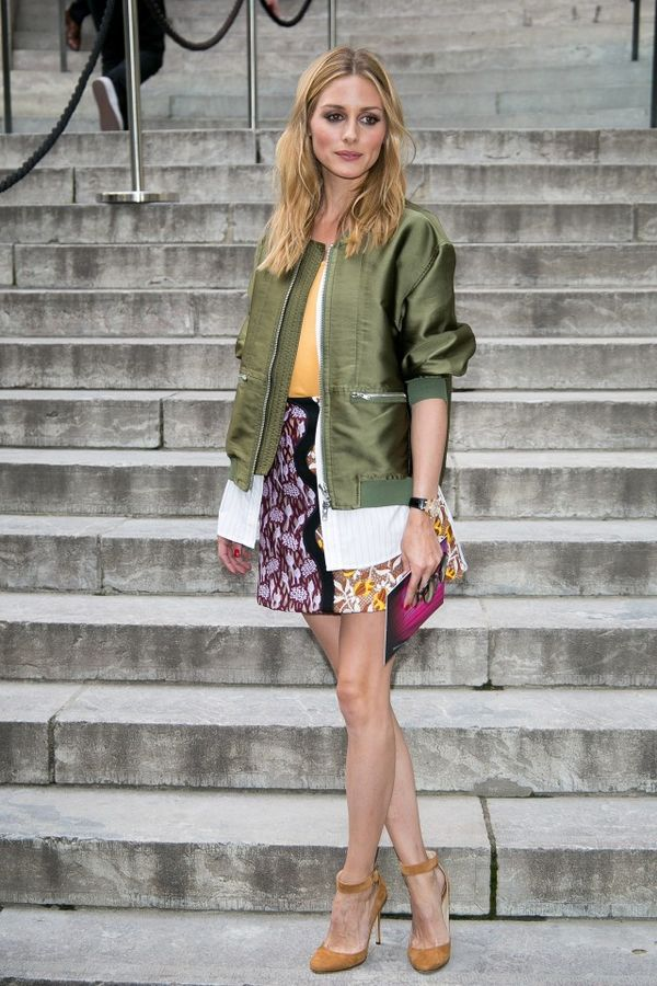 That time she wore a bomber jacket and floral skirt.